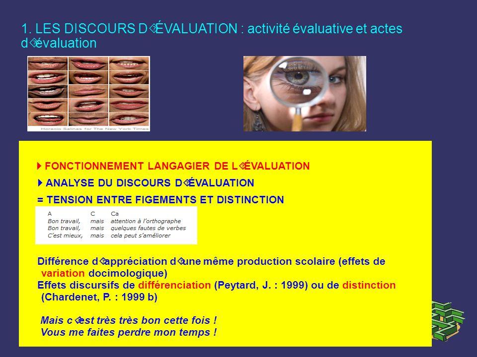 1. LES DISCOURS D´ÉVALUATION : activité évaluative et actes d´évaluation FONCTIONNEMENT LANGAGIER DE L´ÉVALUATION ANALYSE DU DISCOURS D´ÉVALUATION = T