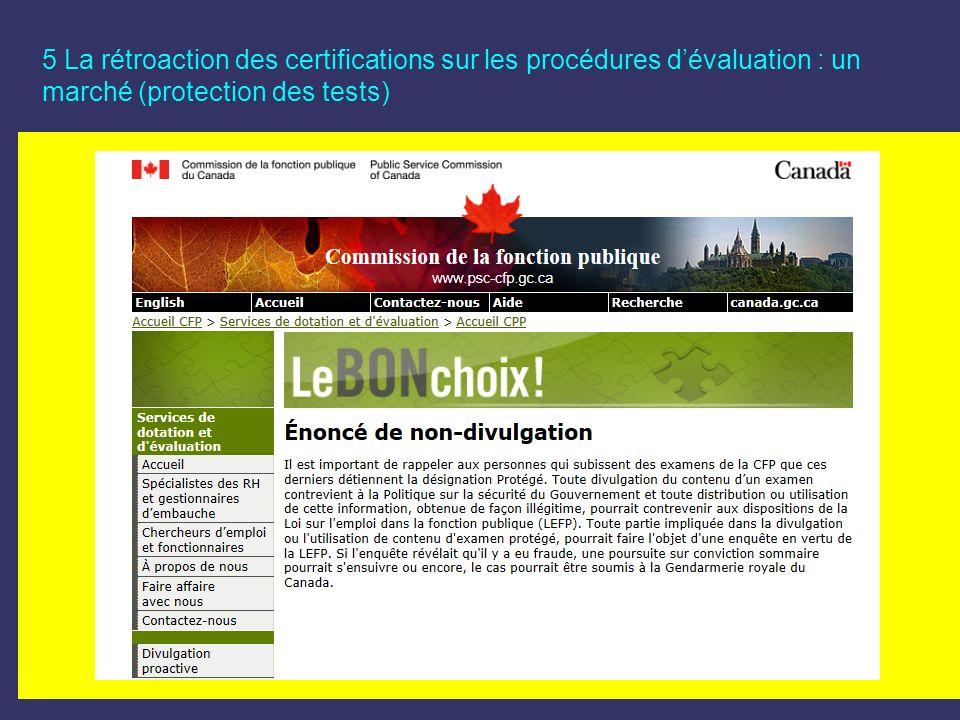 5 La rétroaction des certifications sur les procédures dévaluation : un marché (protection des tests)