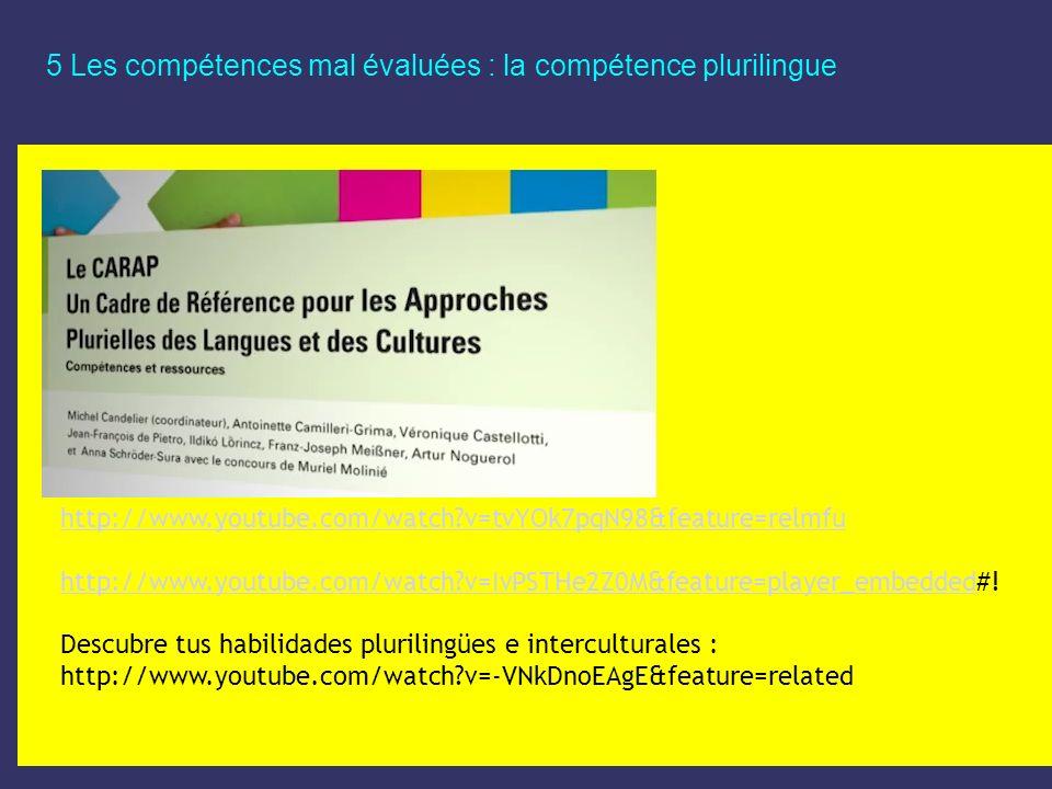 5 Les compétences mal évaluées : la compétence plurilingue http://www.youtube.com/watch?v=tvYOk7pqN98&feature=relmfu http://www.youtube.com/watch?v=Iv