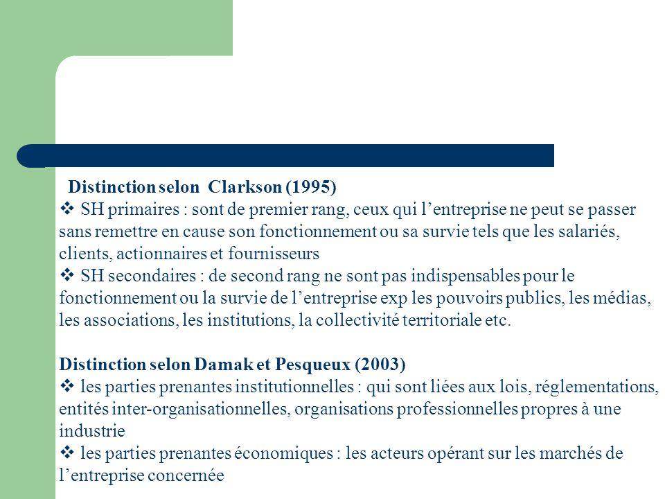 Distinction selon Clarkson (1995) SH primaires : sont de premier rang, ceux qui lentreprise ne peut se passer sans remettre en cause son fonctionnemen