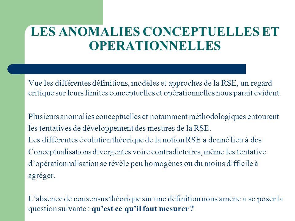 LES ANOMALIES CONCEPTUELLES ET OPERATIONNELLES Vue les différentes définitions, modèles et approches de la RSE, un regard critique sur leurs limites c