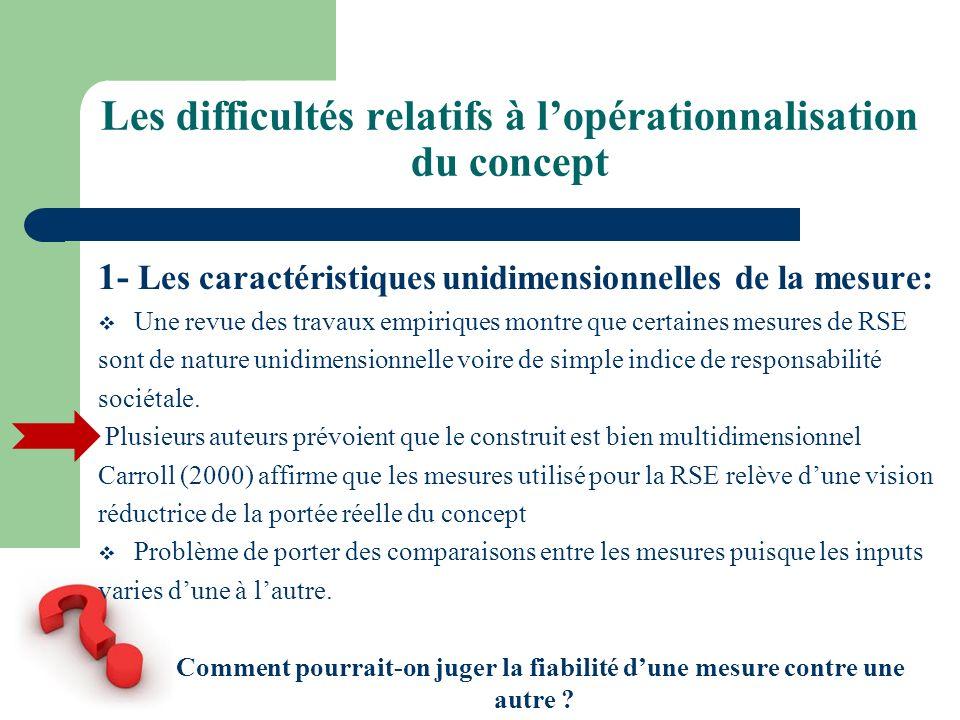 Les difficultés relatifs à lopérationnalisation du concept 1- Les caractéristiques unidimensionnelles de la mesure: Une revue des travaux empiriques m