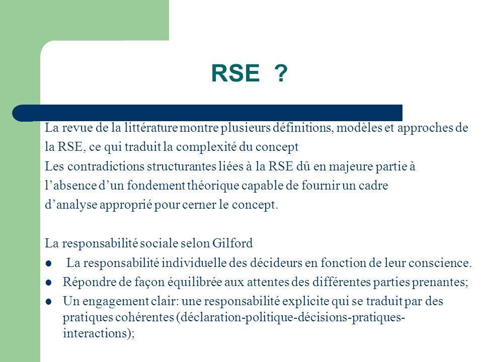 RSE ? La revue de la littérature montre plusieurs définitions, modèles et approches de la RSE, ce qui traduit la complexité du concept Les contradicti