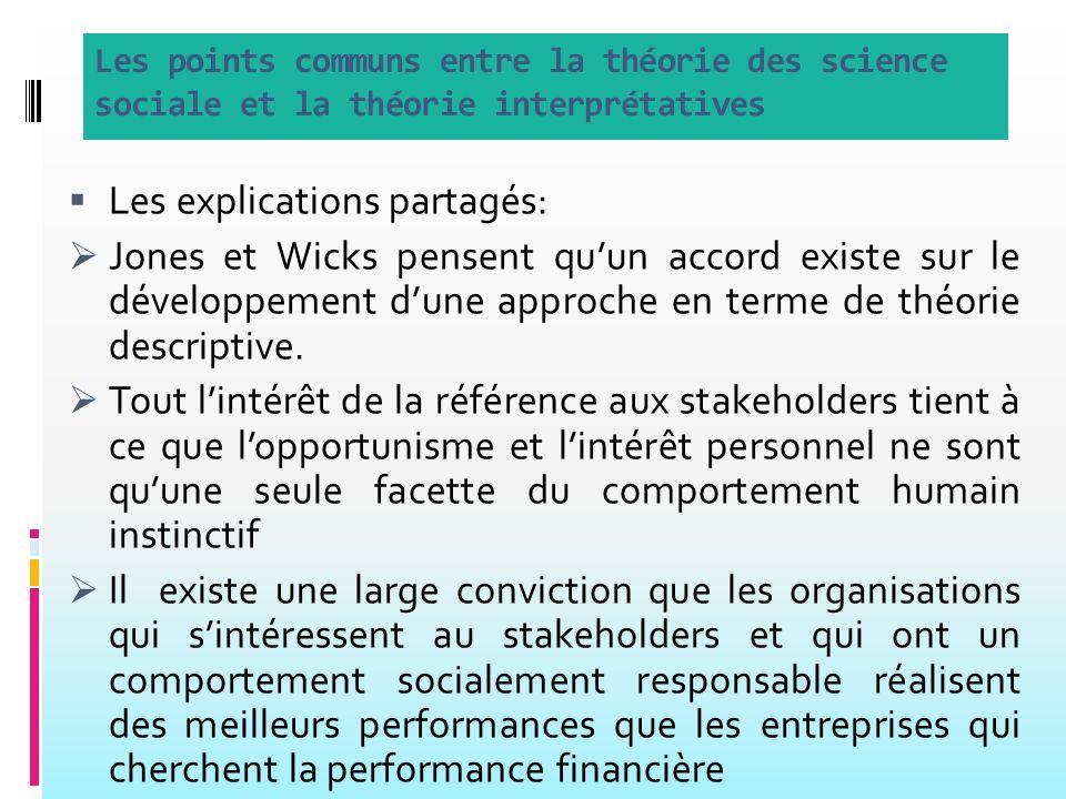 Les points communs entre la théorie des science sociale et la théorie interprétatives Les explications partagés: Jones et Wicks pensent quun accord existe sur le développement dune approche en terme de théorie descriptive.
