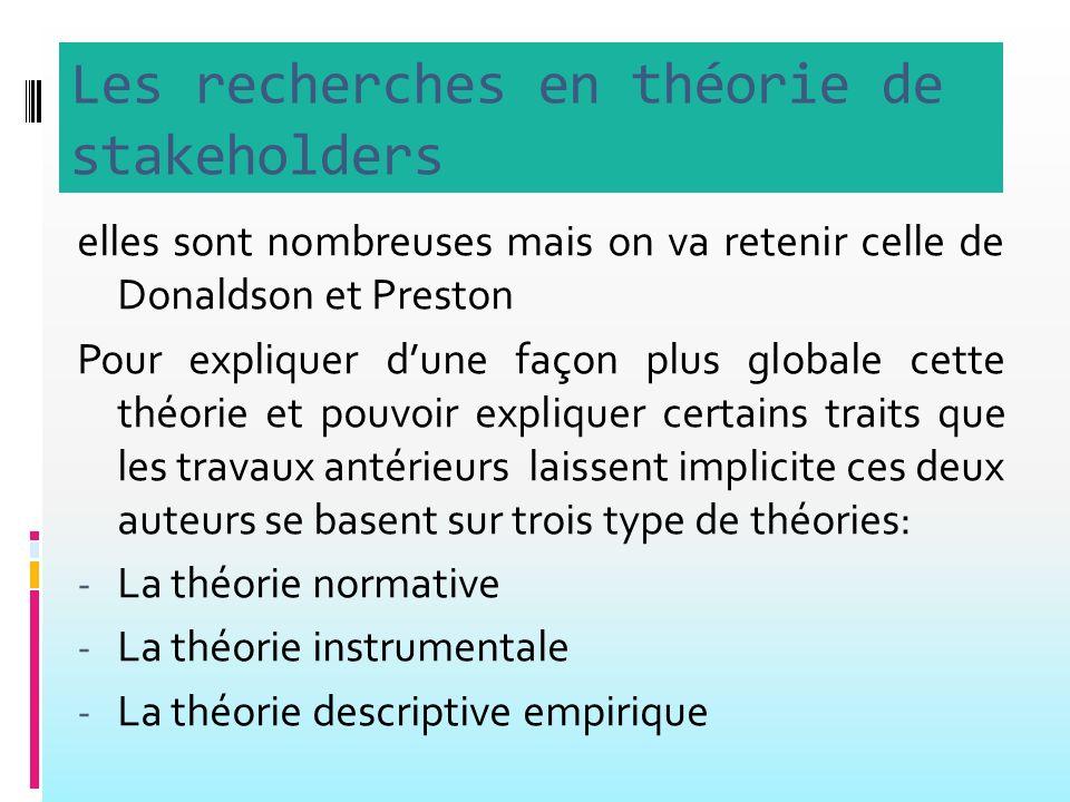 Les recherches en théorie de stakeholders elles sont nombreuses mais on va retenir celle de Donaldson et Preston Pour expliquer dune façon plus globale cette théorie et pouvoir expliquer certains traits que les travaux antérieurs laissent implicite ces deux auteurs se basent sur trois type de théories: - La théorie normative - La théorie instrumentale - La théorie descriptive empirique