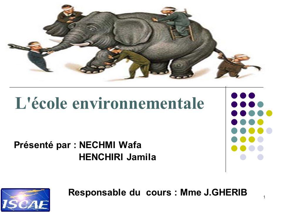 1 L'école environnementale Présenté par : NECHMI Wafa HENCHIRI Jamila Responsable du cours : Mme J.GHERIB