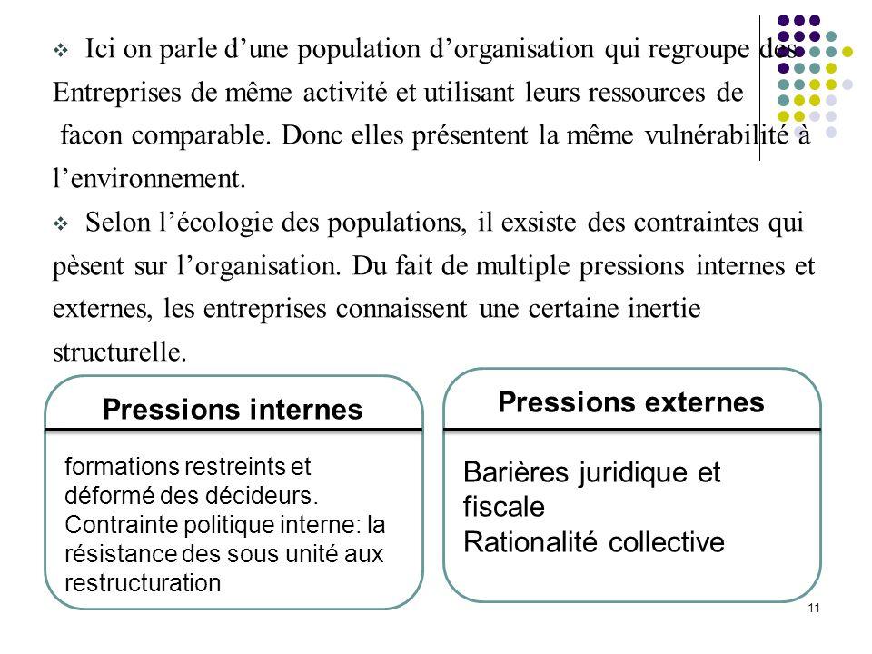 11 Ici on parle dune population dorganisation qui regroupe des Entreprises de même activité et utilisant leurs ressources de facon comparable. Donc el