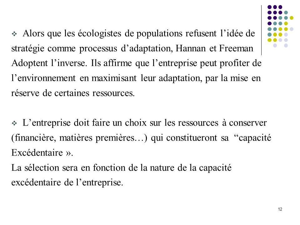 12 Alors que les écologistes de populations refusent lidée de stratégie comme processus dadaptation, Hannan et Freeman Adoptent linverse. Ils affirme