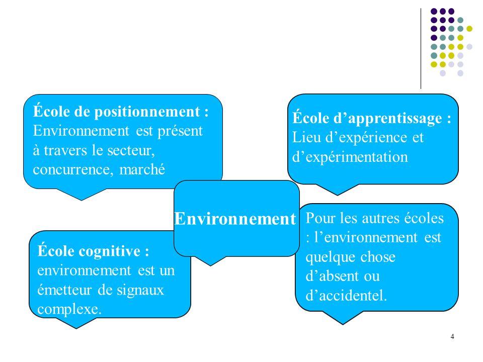 4 École de positionnement : Environnement est présent à travers le secteur, concurrence, marché École cognitive : environnement est un émetteur de sig