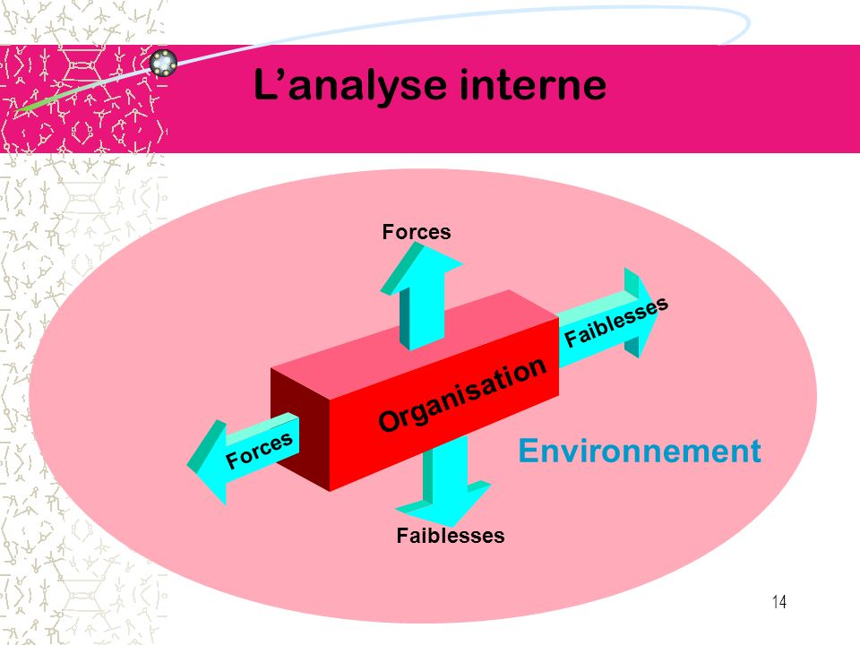 Lanalyse interne Organisation Environnement Faiblesses Forces 14