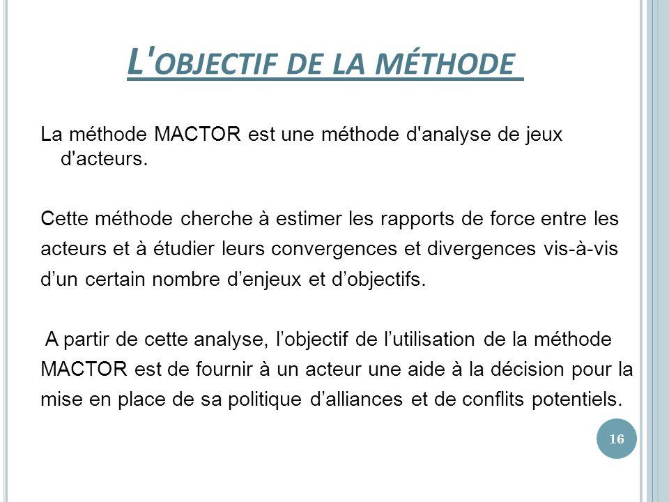 L' OBJECTIF DE LA MÉTHODE La méthode MACTOR est une méthode d'analyse de jeux d'acteurs. Cette méthode cherche à estimer les rapports de force entre l