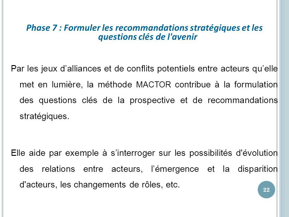 Phase 7 : Formuler les recommandations stratégiques et les questions clés de l'avenir Par les jeux dalliances et de conflits potentiels entre acteurs