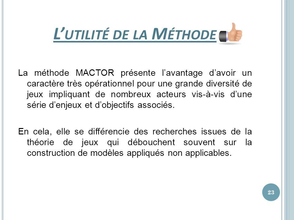 L UTILITÉ DE LA M ÉTHODE La méthode MACTOR présente lavantage davoir un caractère très opérationnel pour une grande diversité de jeux impliquant de no