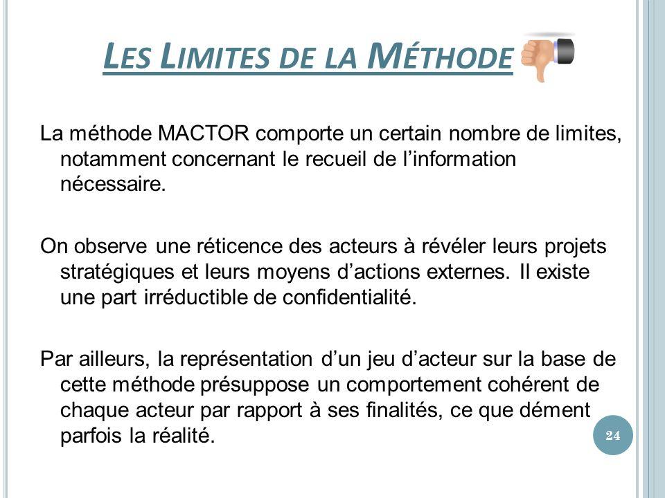 L ES L IMITES DE LA M ÉTHODE La méthode MACTOR comporte un certain nombre de limites, notamment concernant le recueil de linformation nécessaire. On o