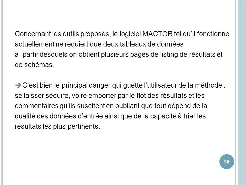 Concernant les outils proposés, le logiciel MACTOR tel quil fonctionne actuellement ne requiert que deux tableaux de données à partir desquels on obti