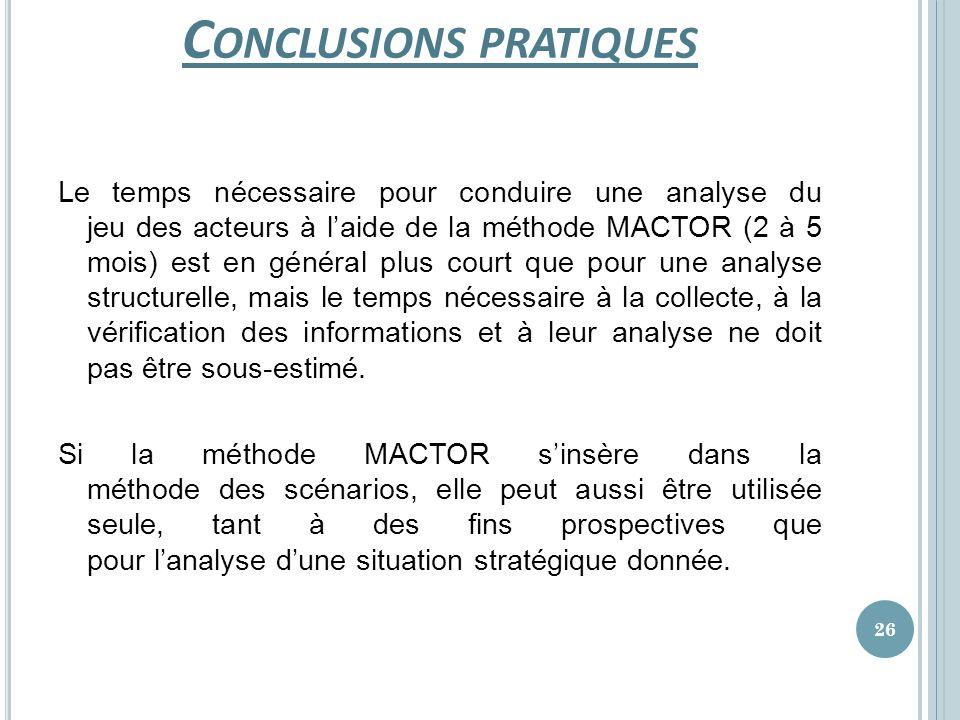 C ONCLUSIONS PRATIQUES Le temps nécessaire pour conduire une analyse du jeu des acteurs à laide de la méthode MACTOR (2 à 5 mois) est en général plus