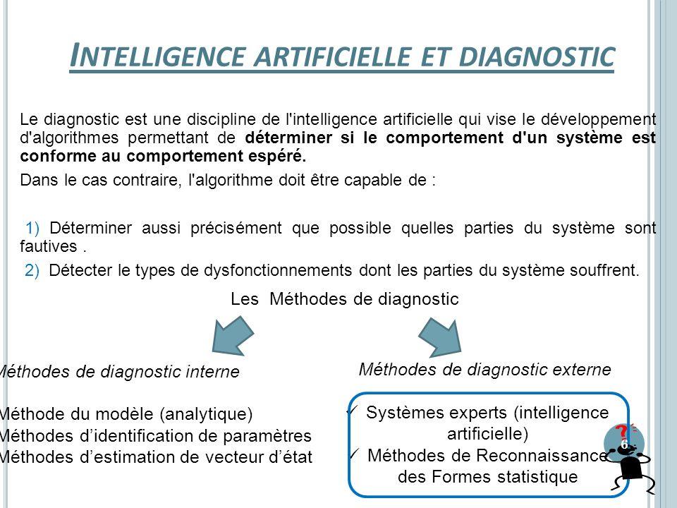I NTELLIGENCE ARTIFICIELLE ET DIAGNOSTIC Le diagnostic est une discipline de l'intelligence artificielle qui vise le développement d'algorithmes perme