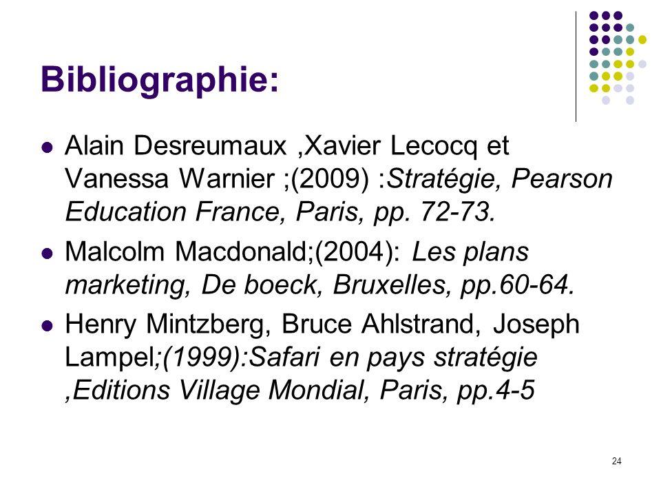 Bibliographie: Alain Desreumaux,Xavier Lecocq et Vanessa Warnier ;(2009) :Stratégie, Pearson Education France, Paris, pp. 72-73. Malcolm Macdonald;(20