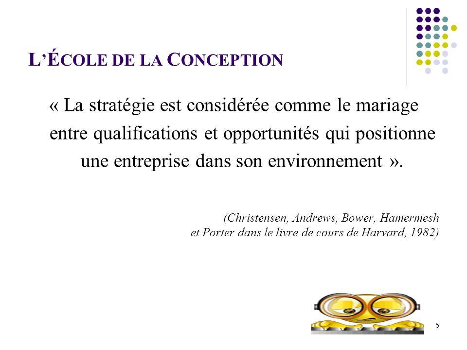 L É COLE DE LA C ONCEPTION « La stratégie est considérée comme le mariage entre qualifications et opportunités qui positionne une entreprise dans son