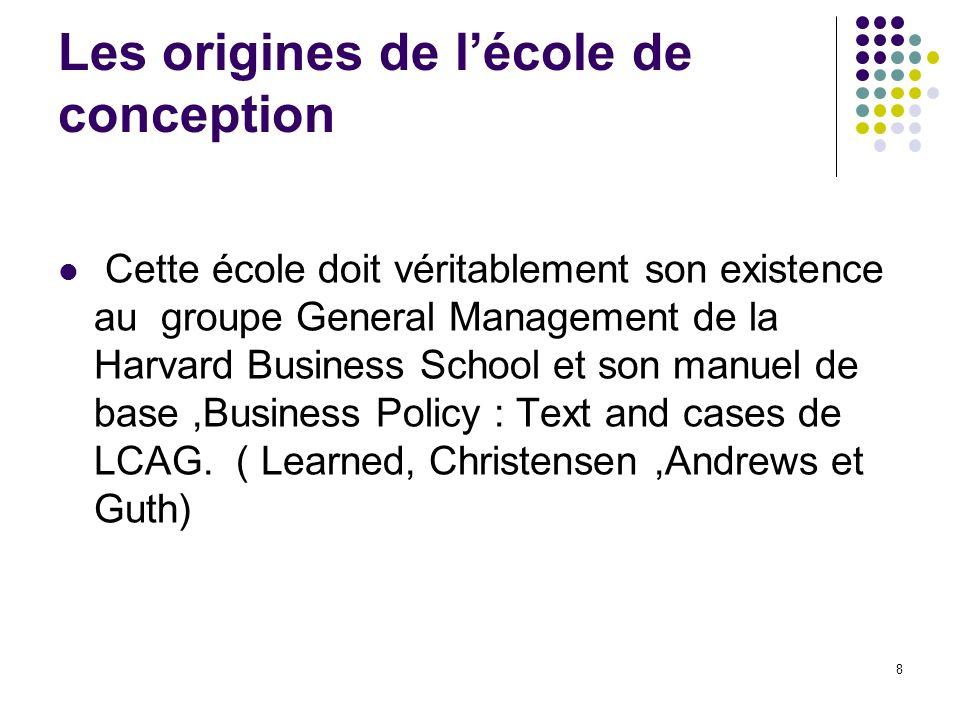 Les origines de lécole de conception Cette école doit véritablement son existence au groupe General Management de la Harvard Business School et son ma