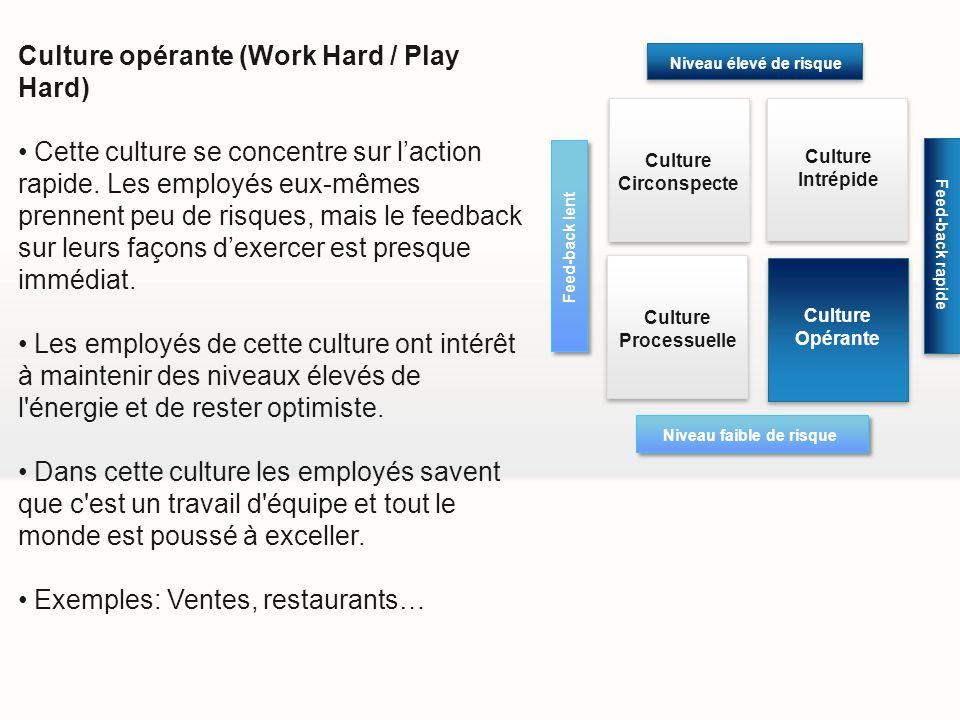 Culture opérante (Work Hard / Play Hard) Cette culture se concentre sur laction rapide. Les employés eux-mêmes prennent peu de risques, mais le feedba