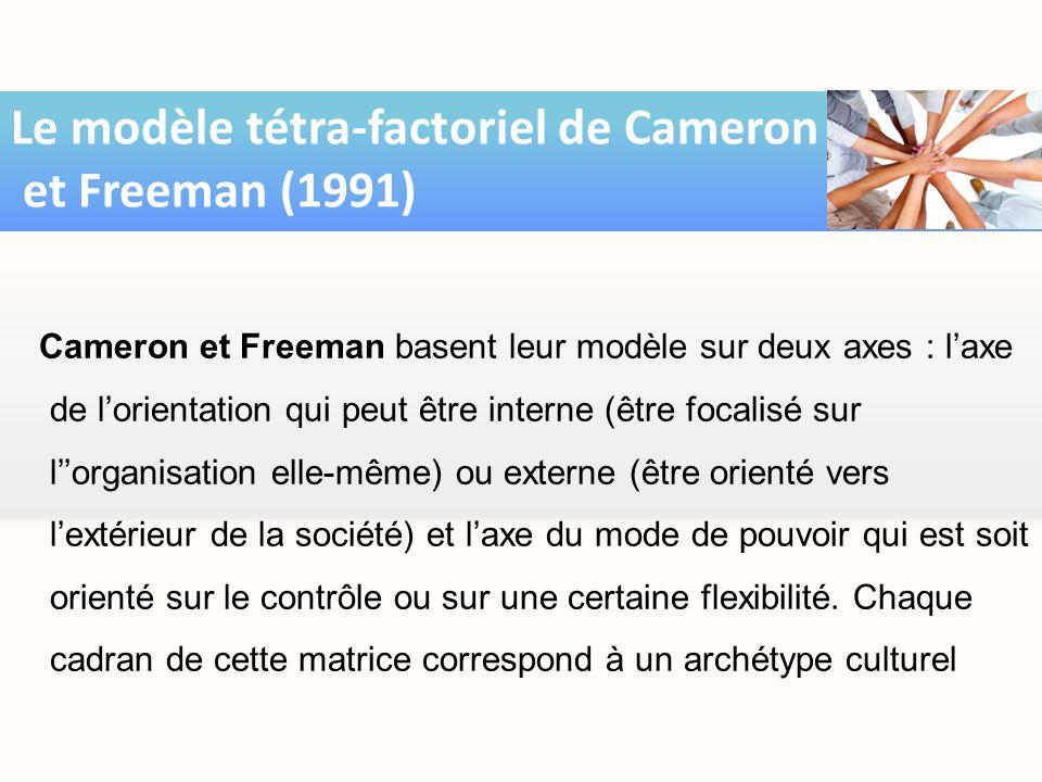 Cameron et Freeman basent leur modèle sur deux axes : laxe de lorientation qui peut être interne (être focalisé sur lorganisation elle-même) ou extern