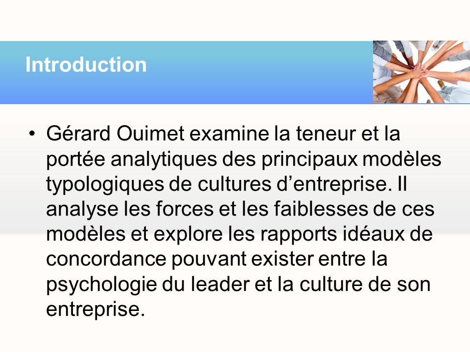 Gérard Ouimet examine la teneur et la portée analytiques des principaux modèles typologiques de cultures dentreprise. Il analyse les forces et les fai