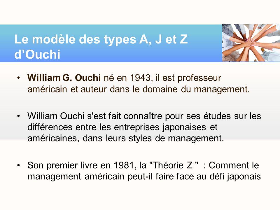 William G. Ouchi né en 1943, il est professeur américain et auteur dans le domaine du management. William Ouchi s'est fait connaître pour ses études s