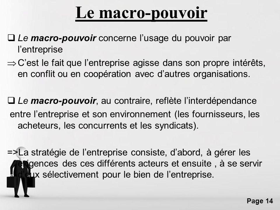Free Powerpoint Templates Page 14 Le macro-pouvoir Le macro-pouvoir concerne lusage du pouvoir par lentreprise Cest le fait que lentreprise agisse dan
