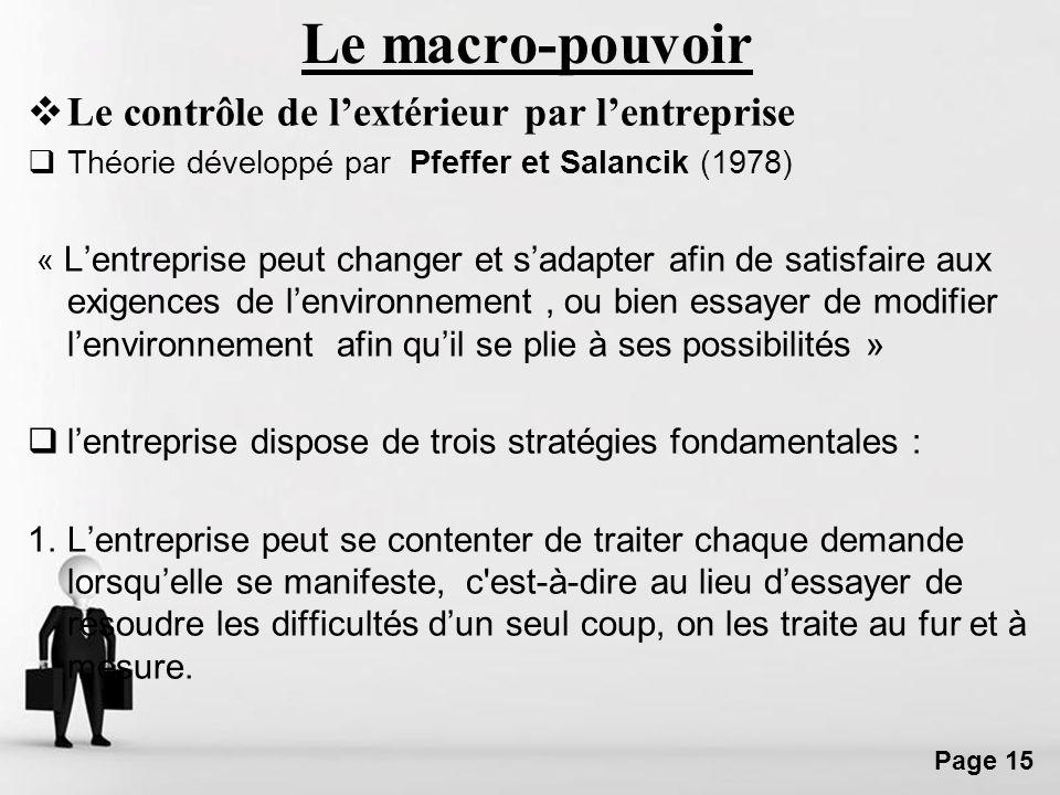 Free Powerpoint Templates Page 15 Le macro-pouvoir Le contrôle de lextérieur par lentreprise Théorie développé par Pfeffer et Salancik (1978) « Lentre