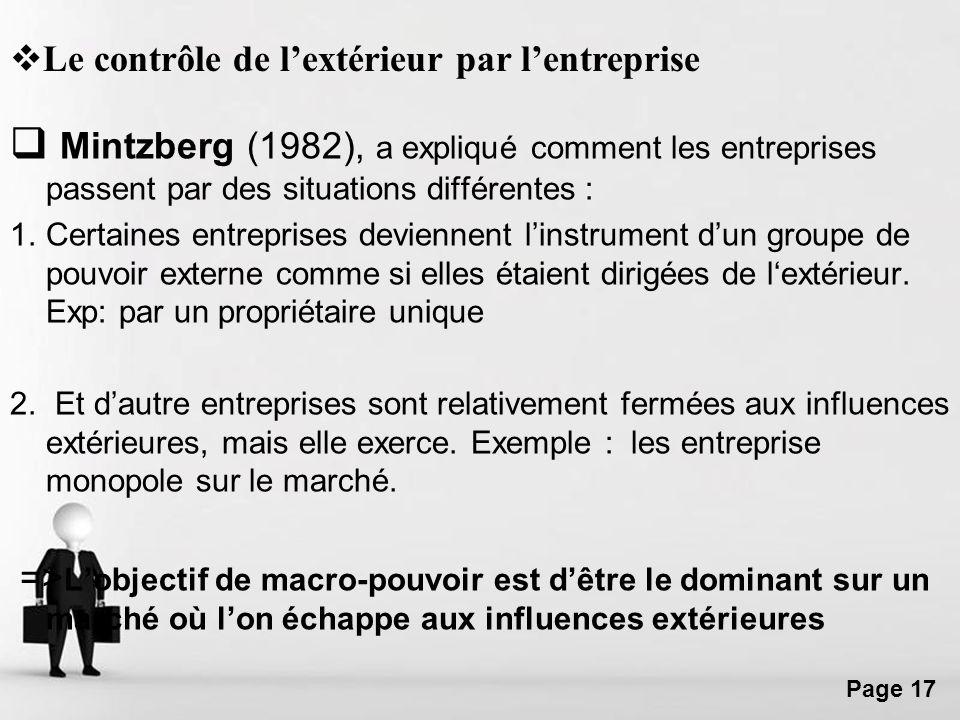 Free Powerpoint Templates Page 17 Mintzberg (1982), a expliqué comment les entreprises passent par des situations différentes : 1.Certaines entreprise