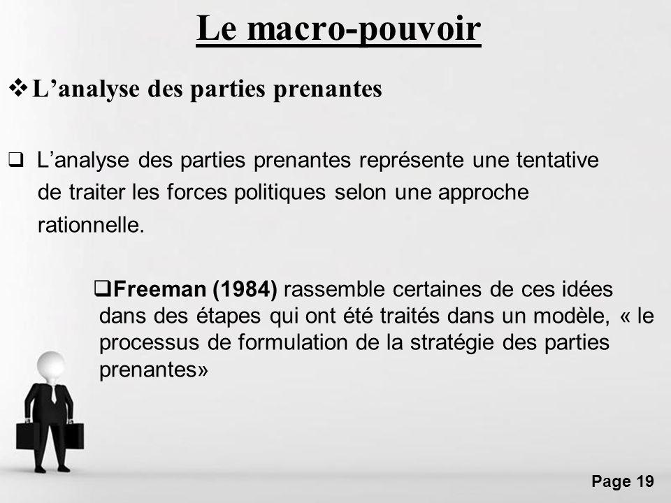 Free Powerpoint Templates Page 19 Le macro-pouvoir Lanalyse des parties prenantes Lanalyse des parties prenantes représente une tentative de traiter l