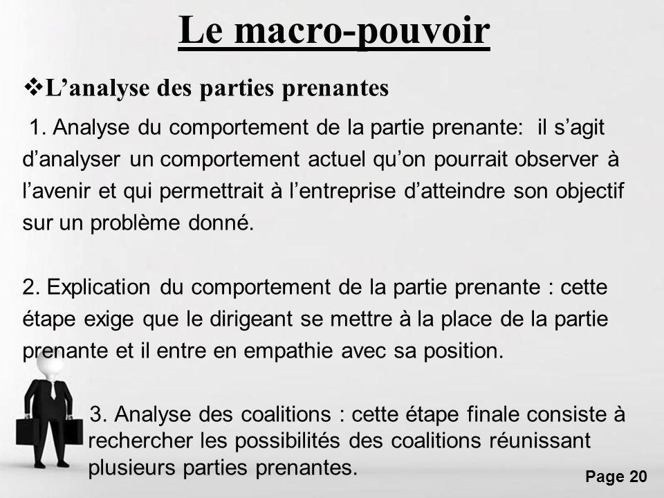 Free Powerpoint Templates Page 20 1. Analyse du comportement de la partie prenante: il sagit danalyser un comportement actuel quon pourrait observer à