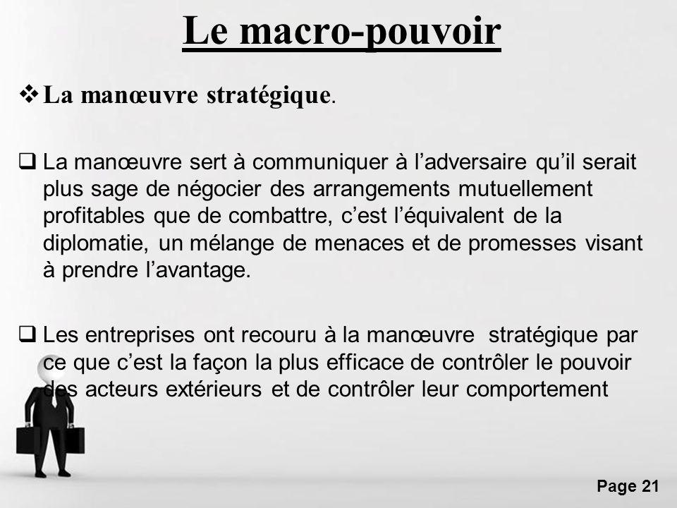 Free Powerpoint Templates Page 21 Le macro-pouvoir La manœuvre stratégique. La manœuvre sert à communiquer à ladversaire quil serait plus sage de négo
