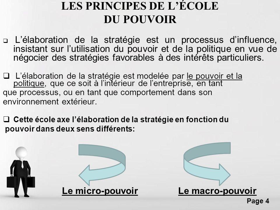Free Powerpoint Templates Page 4 LES PRINCIPES DE LÉCOLE DU POUVOIR Lélaboration de la stratégie est un processus dinfluence, insistant sur lutilisati