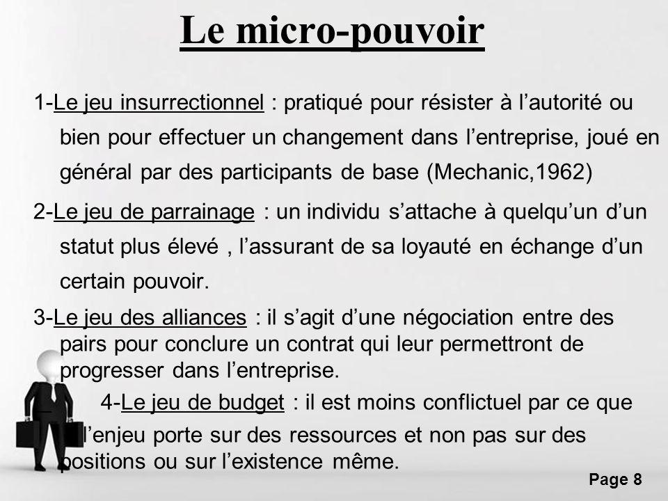 Free Powerpoint Templates Page 8 Le micro-pouvoir 1-Le jeu insurrectionnel : pratiqué pour résister à lautorité ou bien pour effectuer un changement d