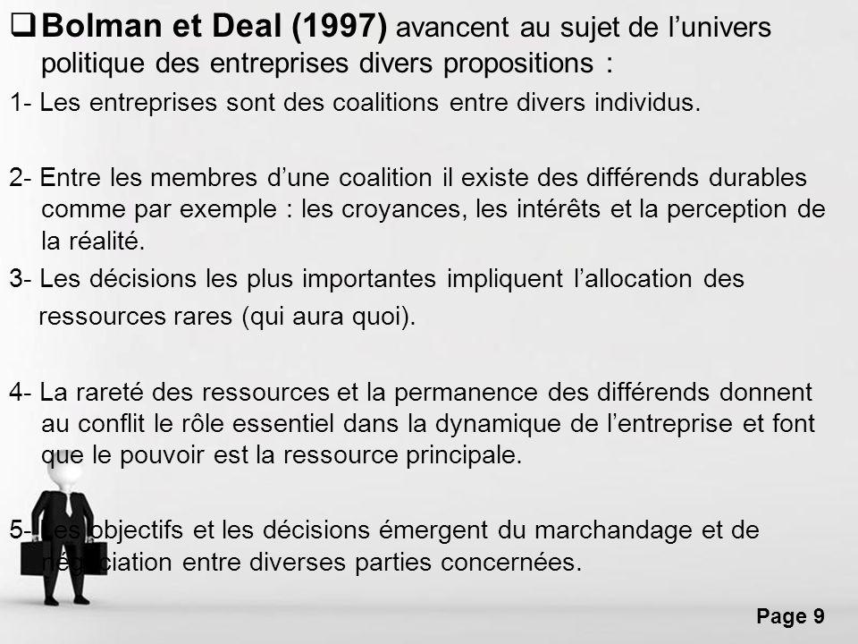 Free Powerpoint Templates Page 9 Bolman et Deal (1997) avancent au sujet de lunivers politique des entreprises divers propositions : 1- Les entreprise