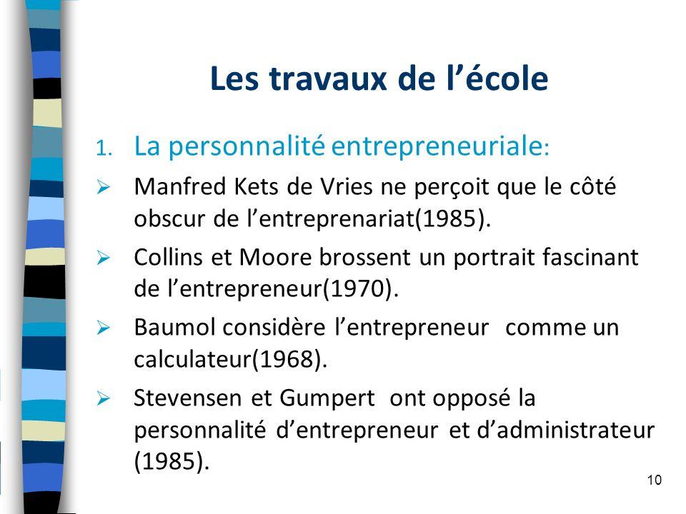 Les travaux de lécole 1. La personnalité entrepreneuriale : Manfred Kets de Vries ne perçoit que le côté obscur de lentreprenariat(1985). Collins et M