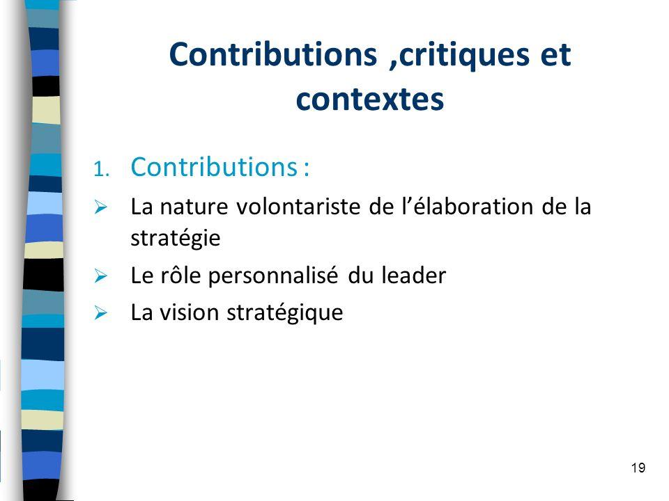 Contributions,critiques et contextes 1. Contributions : La nature volontariste de lélaboration de la stratégie Le rôle personnalisé du leader La visio