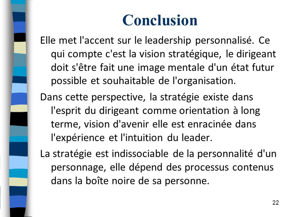Conclusion Elle met l'accent sur le leadership personnalisé. Ce qui compte c'est la vision stratégique, le dirigeant doit s'être fait une image mental