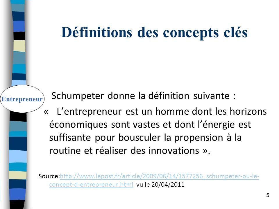Définitions des concepts clés Schumpeter donne la définition suivante : « Lentrepreneur est un homme dont les horizons économiques sont vastes et dont