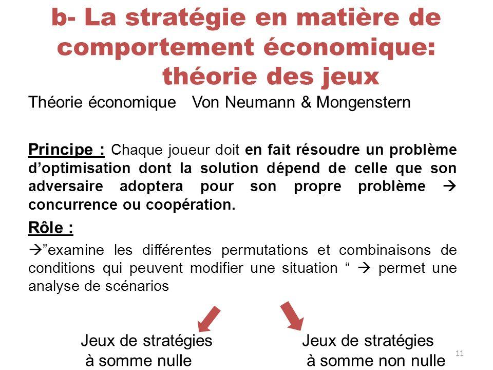 b- La stratégie en matière de comportement économique: théorie des jeux Théorie économique Von Neumann & Mongenstern Principe : Chaque joueur doit en