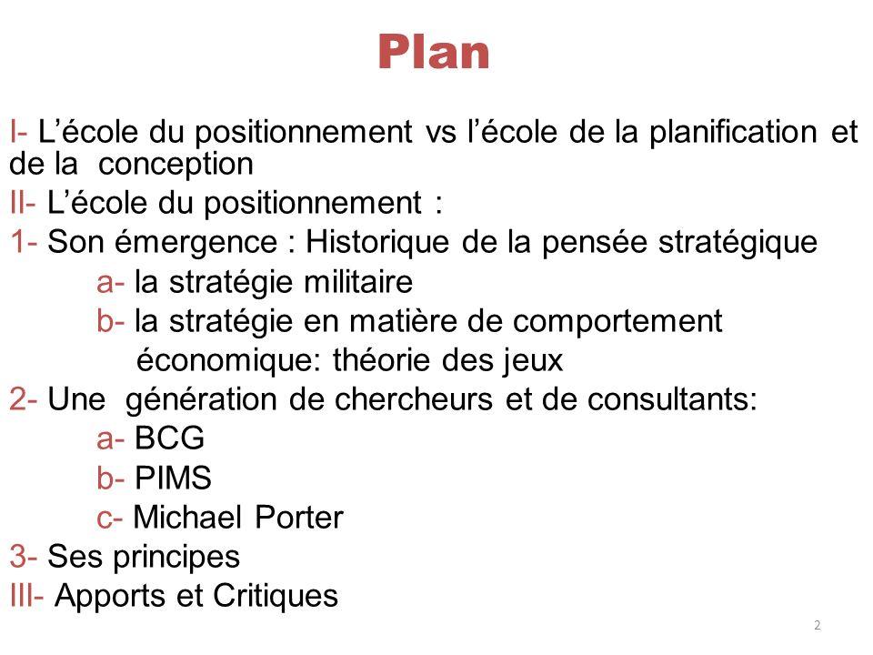 Plan I- Lécole du positionnement vs lécole de la planification et de la conception II- Lécole du positionnement : 1- Son émergence : Historique de la