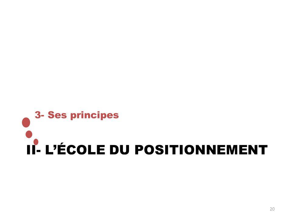 II- LÉCOLE DU POSITIONNEMENT 3- Ses principes 20