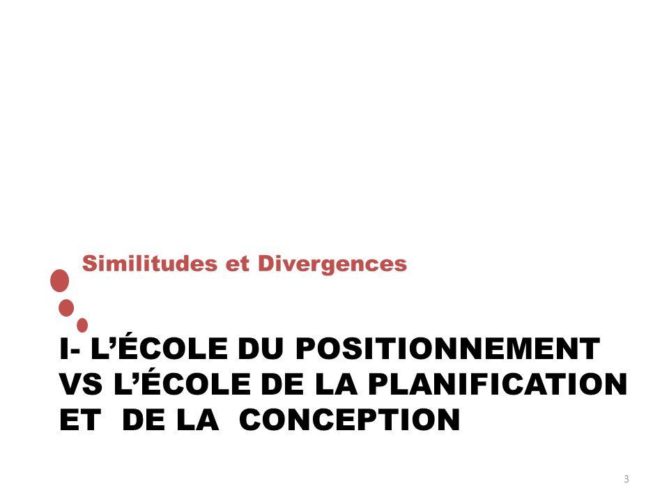 I- LÉCOLE DU POSITIONNEMENT VS LÉCOLE DE LA PLANIFICATION ET DE LA CONCEPTION Similitudes et Divergences 3