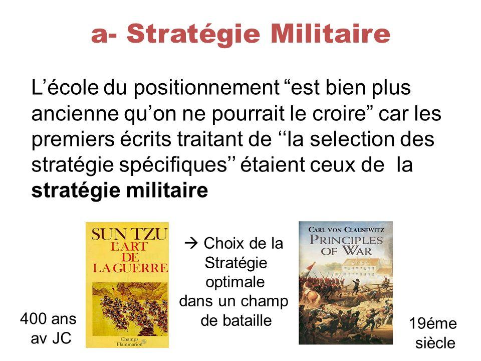 a- Stratégie Militaire Lécole du positionnement est bien plus ancienne quon ne pourrait le croire car les premiers écrits traitant de la selection des