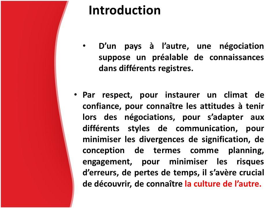 Introduction Dun pays à lautre, une négociation suppose un préalable de connaissances dans différents registres. Par respect, pour instaurer un climat