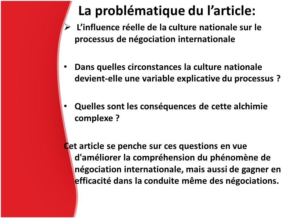 La problématique du larticle: Linfluence réelle de la culture nationale sur le processus de négociation internationale Dans quelles circonstances la c