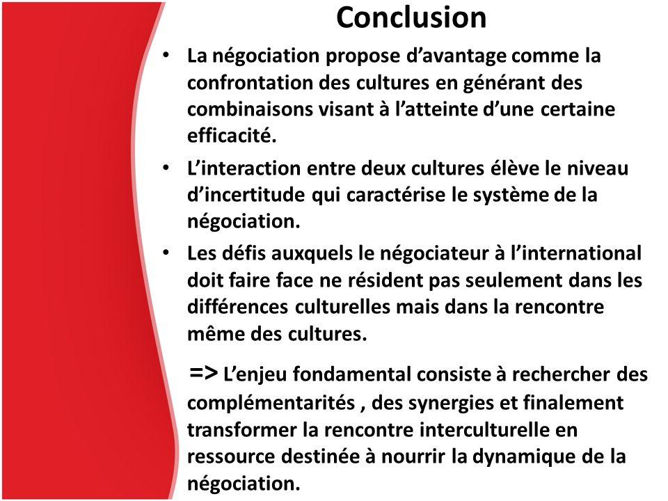 Conclusion La négociation propose davantage comme la confrontation des cultures en générant des combinaisons visant à latteinte dune certaine efficaci