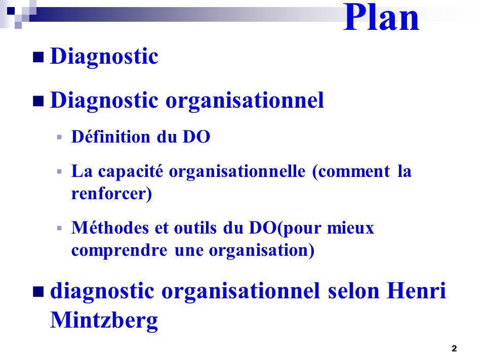 2 Plan Diagnostic Diagnostic organisationnel Définition du DO La capacité organisationnelle (comment la renforcer) Méthodes et outils du DO(pour mieux